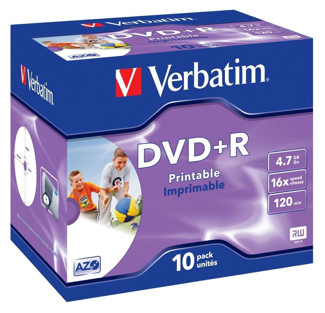 Verbatim DVD+R 4.7GB 16x Printable (jewel case, 10szt)