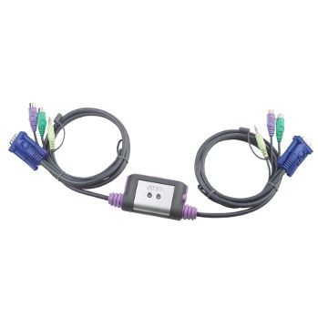Aten CS62A 2-Port PS/2 KVM Switch (Speaker Support, 1.2m cables)