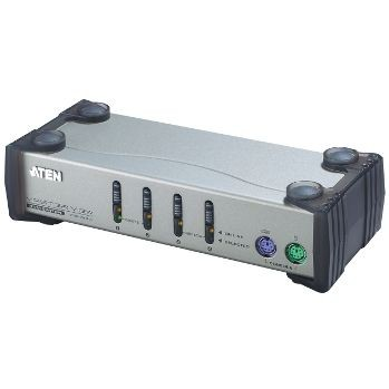 Aten CS84A 4-Port PS/2 KVM Switch, 4x PS/2 Cables, 1 Front console, Non-powered