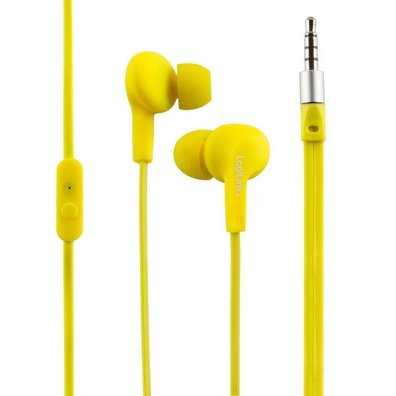 LogiLink - Słuchawki douszne z mikrofonem ''Sports-Fit'', ochrona IPX6, żółte