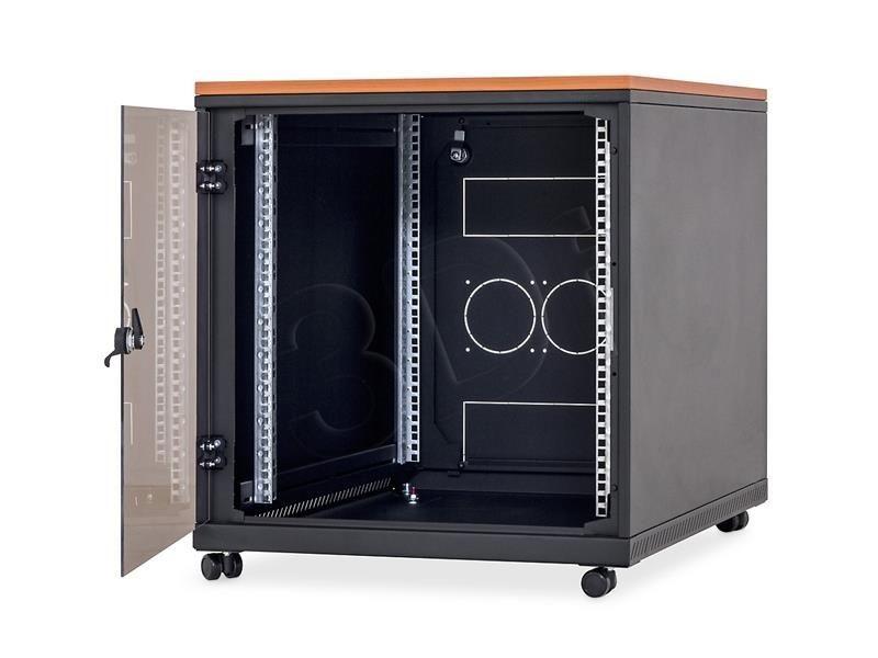 Triton Szafka rack 19 z blatem na kółkach BXAT15-0031-06 (12U 600x800mm przeszklone drzwi obciążalność 200kg kolor czarny RAL9005)