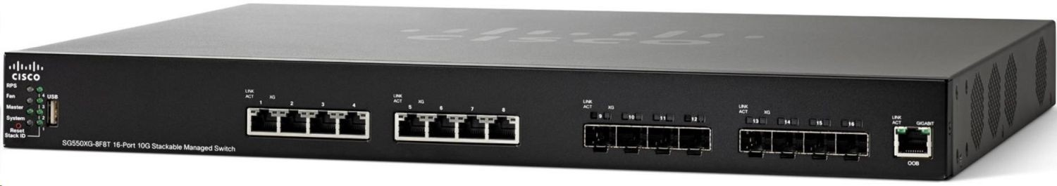Cisco Systems Cisco SG550XG-8F8T 16-Port 10G Stackable Managed Switch