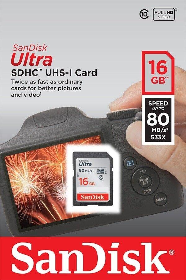 SanDisk karta pamięci Ultra SDHC 16GB Class 10 UHS-I, Odczyt: do 80MB/s