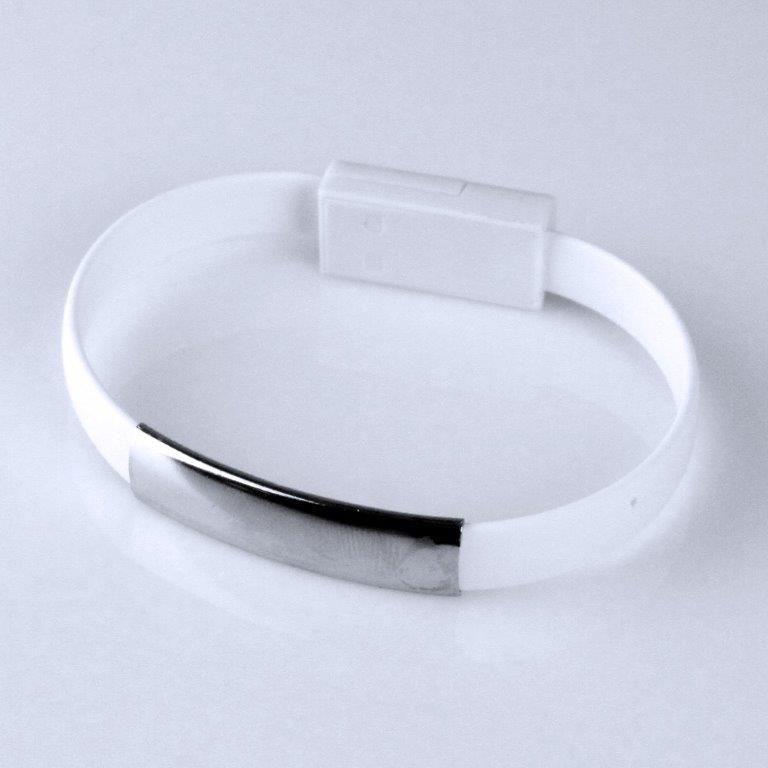 Global Technology KABEL USB microUSB BRANSOLETKA biała