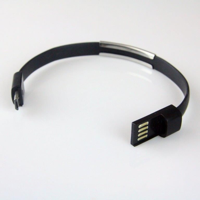 Global Technology KABEL USB microUSB BRANSOLETKA czarna