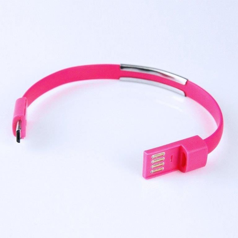 Global Technology KABEL USB microUSB BRANSOLETKA różowa