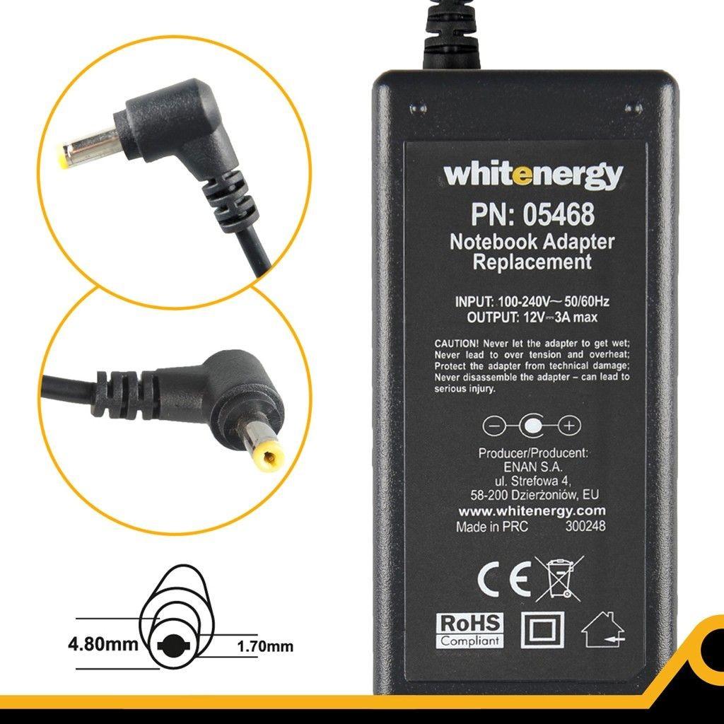 Whitenergy zasilacz 12V/3A 36W (wtyczka 4.8x1.7mm, Asus Eee PC)