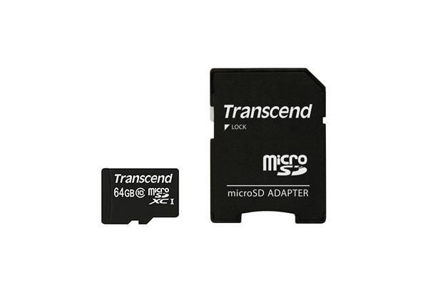 Transcend karta pamięci microSDXC 64GB Class 10 + Adapter (SD 3.0)