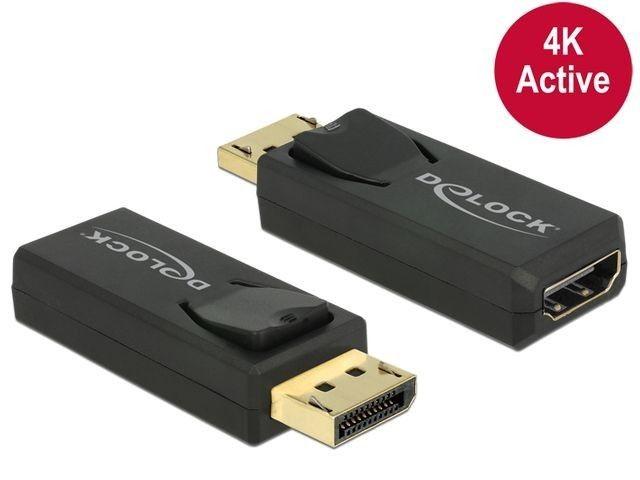 DeLOCK Adapter Displayport 1.2 męski > HDMI żeński 4K aktywne czarny