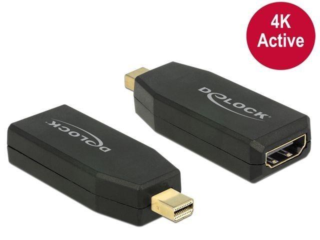 DeLOCK Adapter mini Displayport 1.2 męski > HDMI żeński 4K aktywne czarny