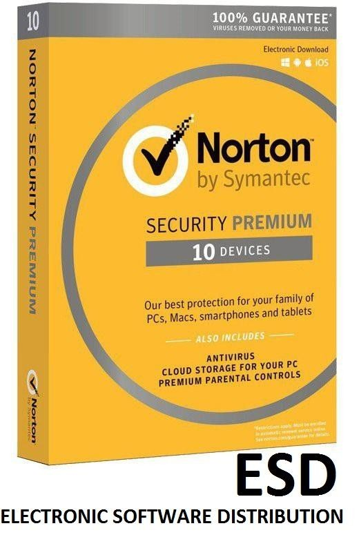 Symantec NORTON SECURITY PREMIUM 3.0 25GB PL 1 USER 10 DEVICES 12MO SPECIAL DRM KEY ESD