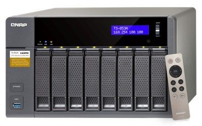 QNAP 8-Bay TurboNAS, SATA 6G, Celeron1.6G Quad Core, 4G RAM, 4x GbE LAN, USB 3.0