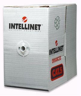 Intellinet kabel instalacyjny skrętka UTP 4x2 (kat. 5e, drut, miedź, karton, 305m, szary)