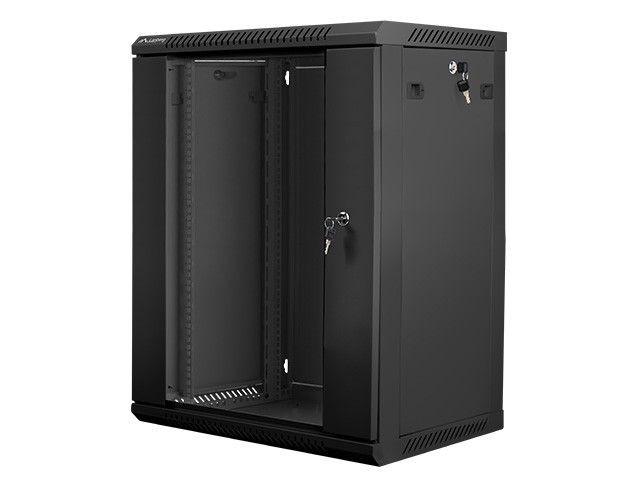 Lanberg szafa instalacyjna wisząca 19'' 15U 600x450mm czarna (drzwi szklane)