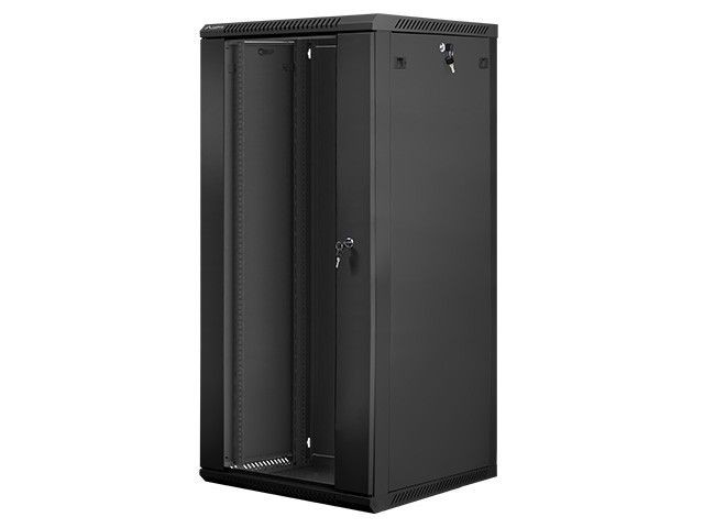 Lanberg szafa instalacyjna wisząca 19'' 27U 600x600mm czarna (drzwi szklane)