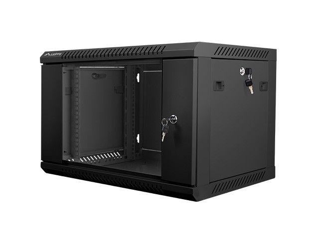 Lanberg szafa instalacyjna wisząca 19'' 6U 600x450mm czarna (drzwi szklane)