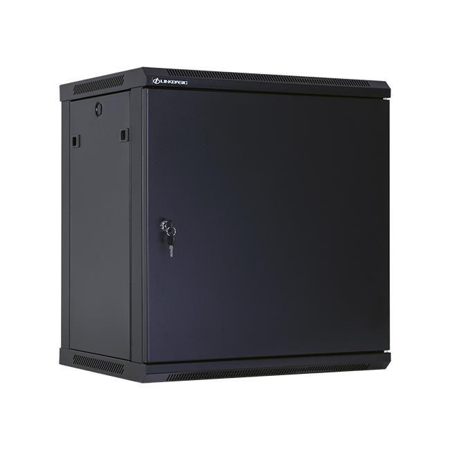 Linkbasic szafa wisząca rack 19'' 12U 600x450mm czarna (drzwi przednie stalowe)