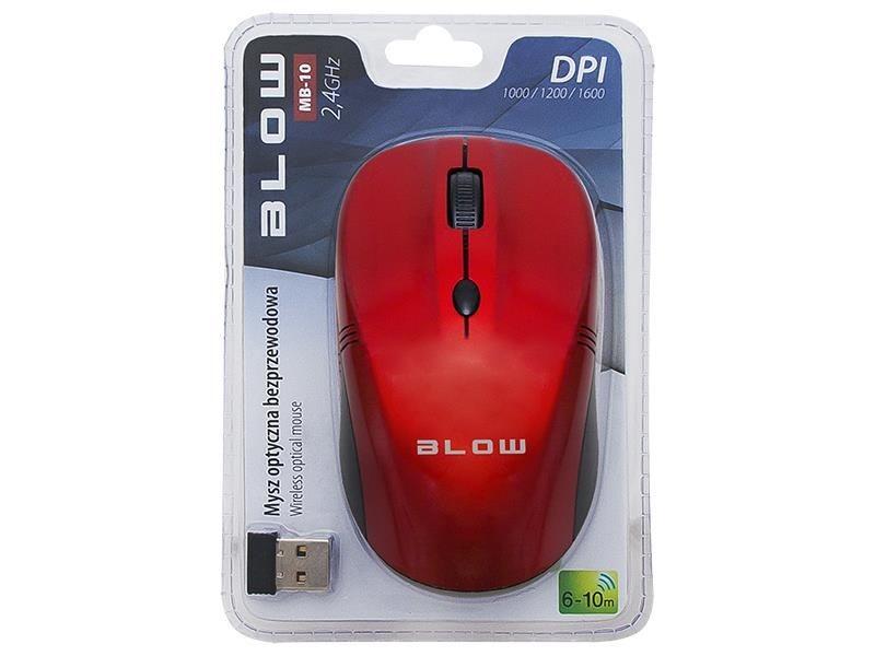 BLOW bezprzewodowa mysz optyczna MB-10 USB czerwona