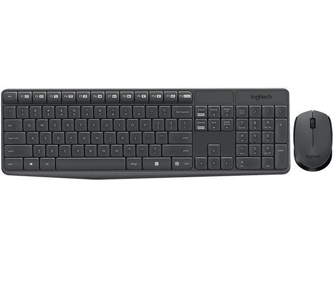 Logitech klawiatura + mysz bezprzewodowa MK235, Szare, US