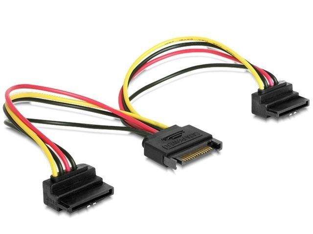 Gembird kabel SATA zasilający(M) -> SATA (F) x2, kątowy, 15 cm