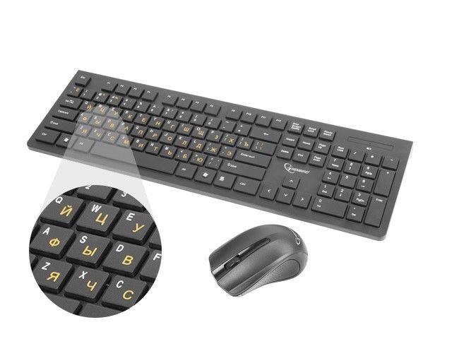 Gembird Zestaw bezprzewodowy klawiatura + mysz Gembird 2.4 GHz z cyrylicą szary