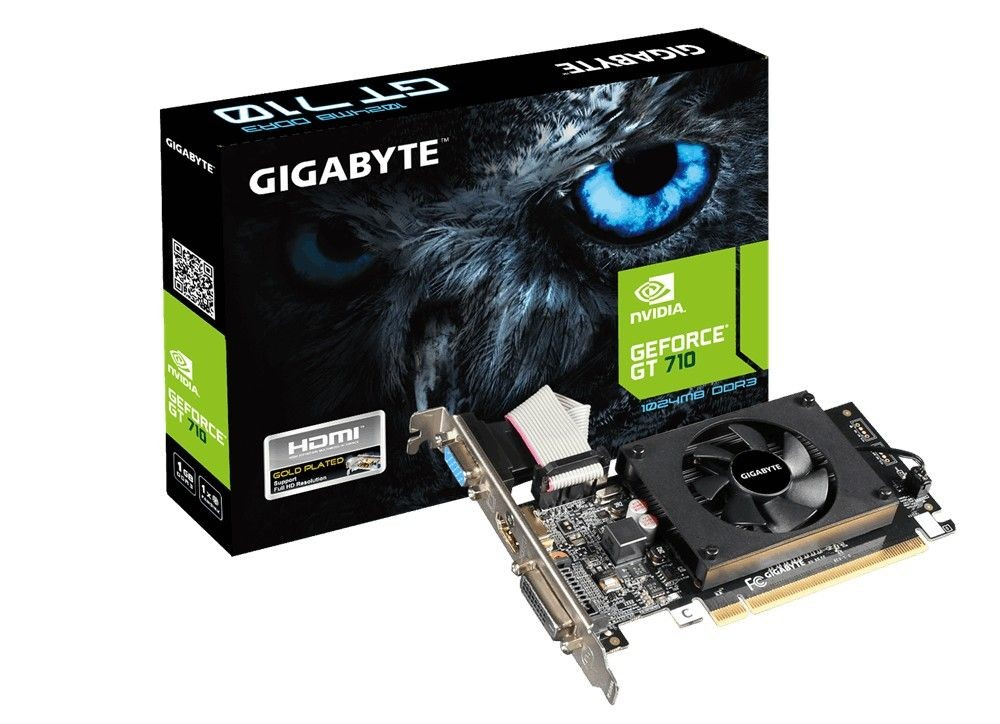 Gigabyte GeForce GT 710, 1GB DDR3 (64 Bit), HDMI, DVI, D-Sub