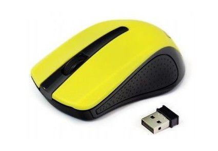 Gembird bezprzewodowa mysz optyczna MUSW-101-G, 1200 DPI, nano USB, żółta