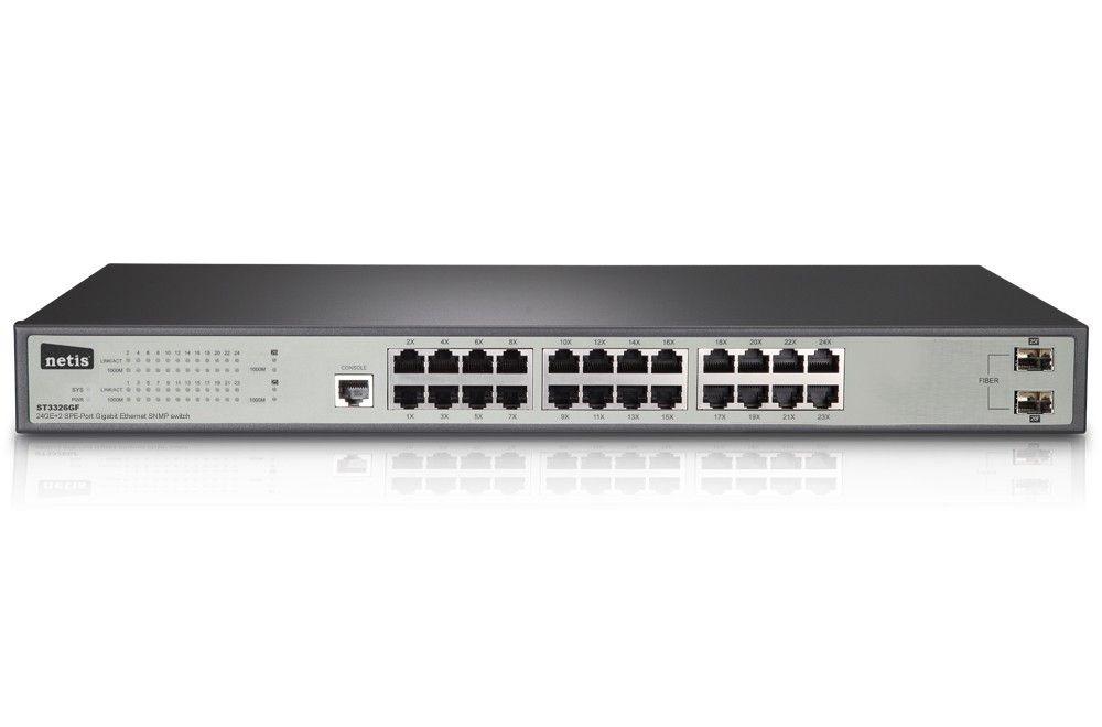 Netis Switch Rack 19'' 24-port 1GB 2x SFP, zarządzalny SNMP ST3326GF