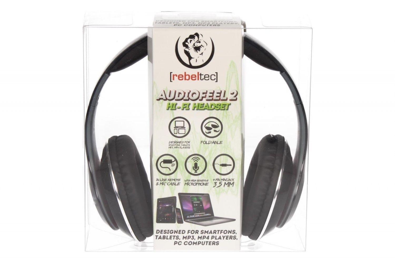 rebeltec Słuchawki stereo z mikrofonem, 4pin mini jack AUDIOFEEL2 BLACK