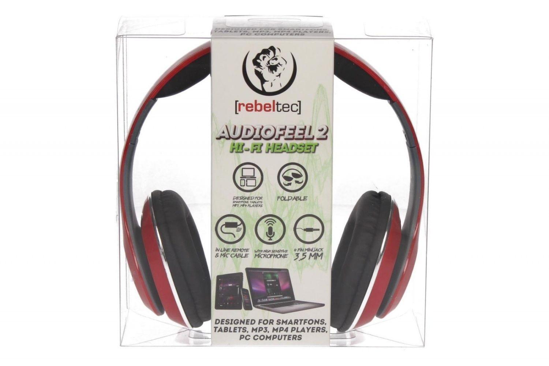 rebeltec Stereo słuchawki z mikrofonem 4pin mini jack AUDIOFEEL2 RED