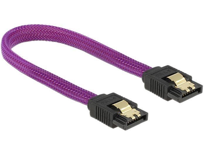 DeLOCK kabel SATA 6 Gb/s 20 cm prosty/ prosty metal. zatrzaski fioletowy Premium