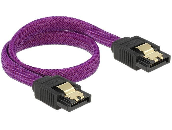 DeLOCK kabel SATA 6 Gb/s 30 cm prosty/ prosty metal. zatrzaski fioletowy Premium
