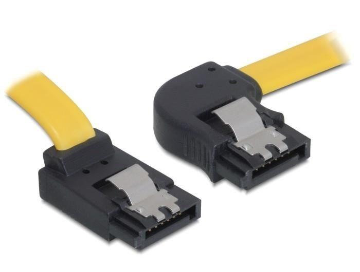 DeLOCK kabel SATA 30cm prawo/góra metal. zatrzaski żółty
