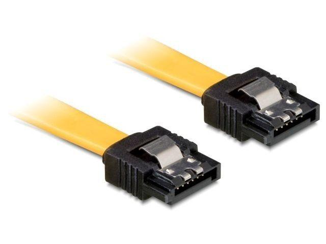 DeLOCK kabel SATA 6 Gb/s 20cm prosty/prosty metal. zatrzaski żółty