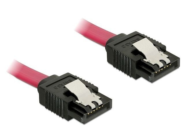 DeLOCK kabel SATA 6 Gb/s 20 cm prosty/prosty metal. zatrzaski czerwony