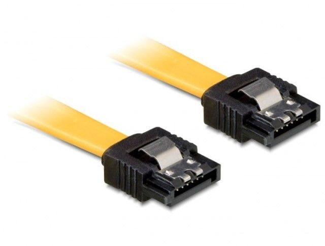 DeLOCK kabel SATA 6 Gb/s 30cm prosty/prosty metal. zatrzaski żółty