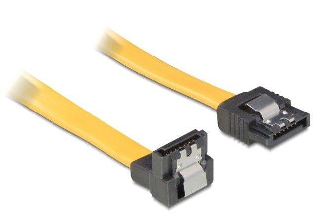 DeLOCK kabel SATA 10cm dół/prosty metal. zatrzaski żółty