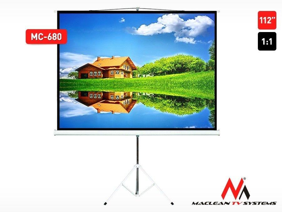 Maclean MC-680 Ekran projekcyjny na stojaku 112'' 1:1 200x200cm statyw