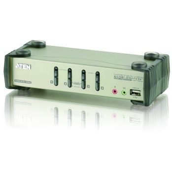 Aten CS1734B 4-Port USB 2.0 KVMP Switch OSD, 4x USB Cables, 2-port Hub, Audio