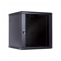 Linkbasic szafa wisząca rack 19'' 12U 600x600mm czarna (drzwi przednie szklane)