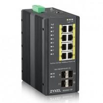 ZyXEL Zyxel RGS200-12P Industrial Switch 8x GbE+4x SFP, PoE DIN rail/Wall mount, IP30