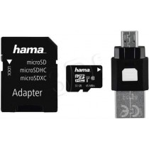 Hama micro SDHC MSD 32GB Class 10 UHS Class U1 + Adapter microSD-SD + czytnik OTG
