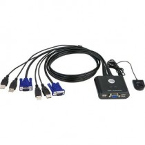Aten CS22U 2-Port USB KVM Switch, Remote port selector, 0.9m cables