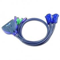 Aten CS62S 2-Port PS/2 KVM Switch All-in-one design (0.9m cables)