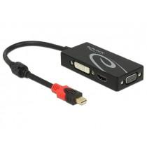 DeLOCK Adapter mini Displayport 1.2 męski->VGA/HDMI/DVI żeński 4K pasywne czarny