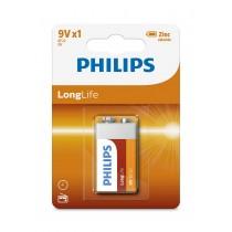 Philips Bateria PHILIPS Lonhlife Cynkowo-chlorkowa 6F22 9V 1 Sztuka Blister