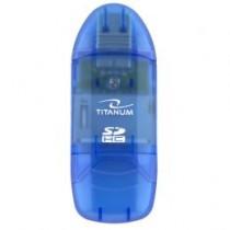 Esperanza TITANUM Czytnik Kart SDHC/MiniSDHC/MicroSDHC/RS/MM TA101B NIEBIESKI USB 2.0
