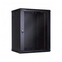 Linkbasic szafa wisząca rack 19'' 15U 600x450mm czarna (drzwi przednie szklane)