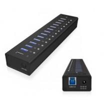 RaidSonic Technology IcyBox 13-portowy Hub USB 3.0, port ładujący USB, Czarny