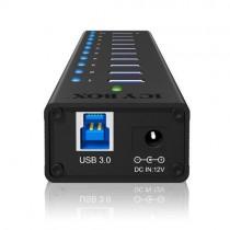 RaidSonic Technology IcyBox 10-portowy Hub USB 3.0, port ładujący USB, Czarny